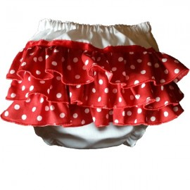 Red Polka Dot Ruffles on Ruffles Baby Bloomers
