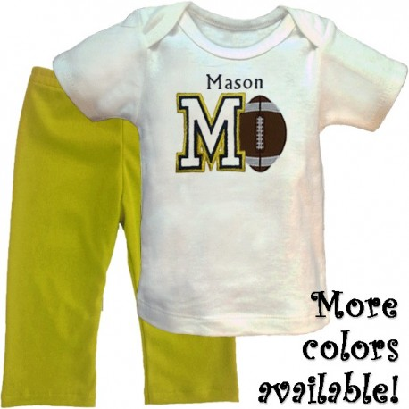 Personalized Football Baby Pants Outfit