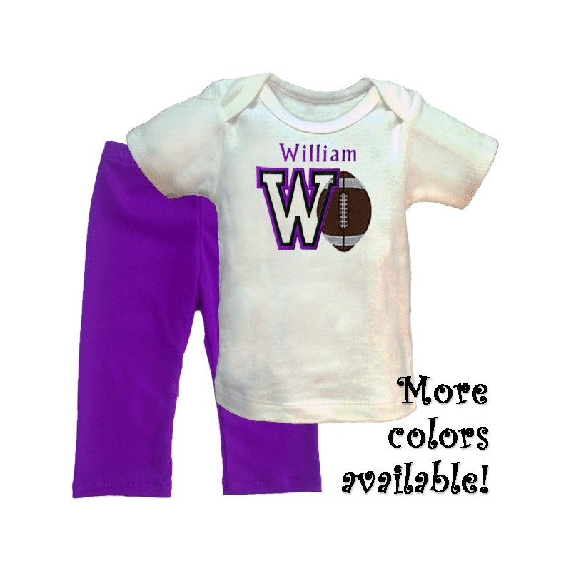 Personalized Football Baby Pants Outfit - Lucky Skunks Baby-Toddler Clothes