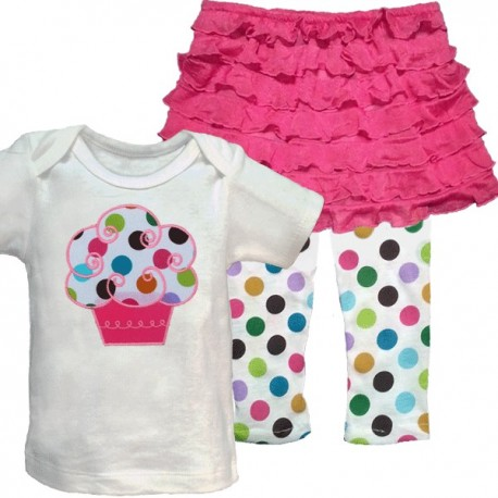 Cute Ruffle Skirt Cupcake Baby Outfit-Pink