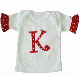 Red Polka Dot Letter Applique Top