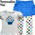 Cute Ruffle Skirt Cupcake Toddler Outfit-Teal