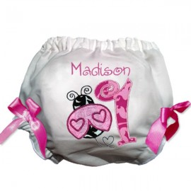 Pink Ladybug First Birthday Baby Bloomers