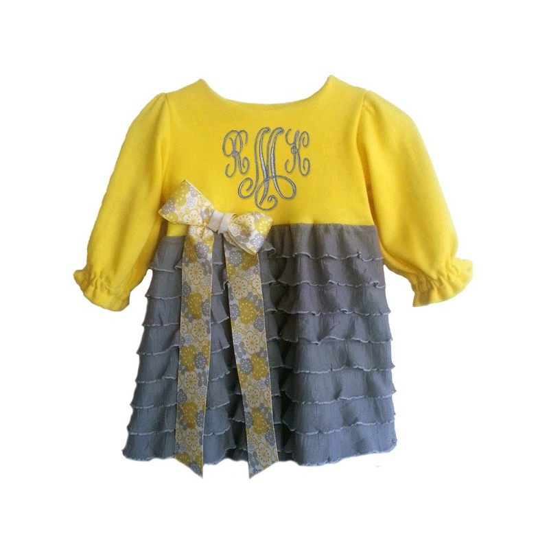 Yellow And Gray Ruffle Baby Amp Toddler Outfit Lucky
