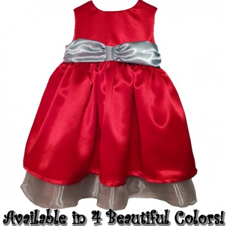 beautiful red satin baby toddler christmas dress