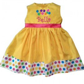 Delightful In Dots Yellow Party Dress