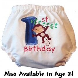 1st Birthday Monkey Baby Bloomers