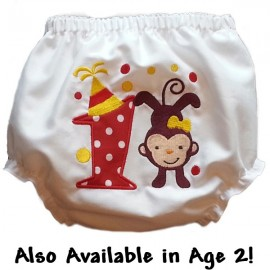 Birthday Monkey Baby Bloomers