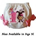 Pink Polka Dot Birthday Monkey Baby Bloomers