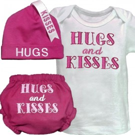 Hugs and Kisses Pink Baby Outfit