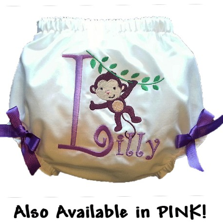 Personalized Monkey Baby Bloomers with Bows