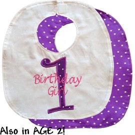 Purple Polka Dot Birthday Bib