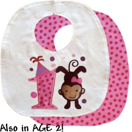 Pink Birthday Monkey Bib