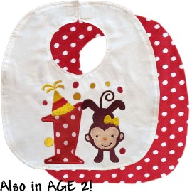 Red Birthday Monkey Bib