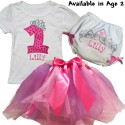 Personalized 1st Birthday Pink & Purple Tutu Outfit
