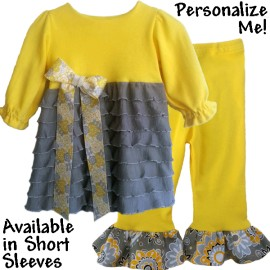 Yellow and Gray Ruffle Baby & Toddler Outfit