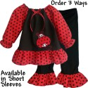 Red & Black Polka Dot Ladybug Ruffled Baby & Toddler Outfit