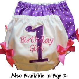 Purple Polka Dot Birthday Baby Bloomers