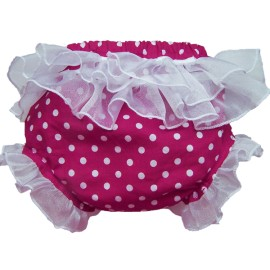 Bright Pink Polka Dot Ruffled Baby Bloomers