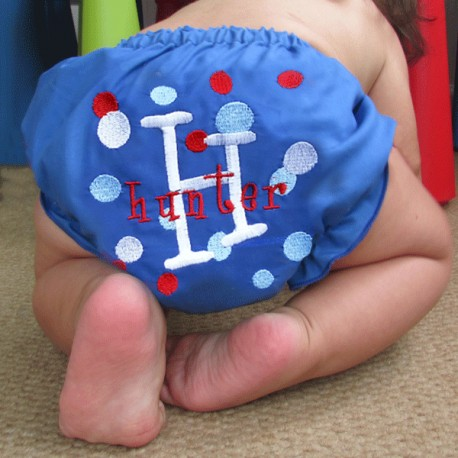 Blue Personalized Dots Baby Bloomers