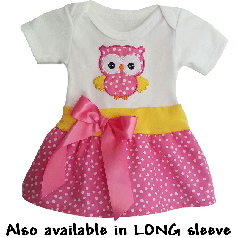Cute onesie baby dress with owl lucky skunks baby toddler clothes