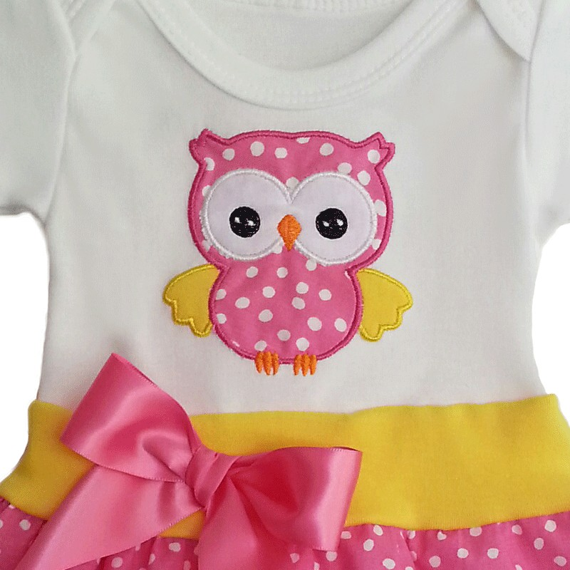 Cute esie Baby Dress with Owl Lucky Skunks Baby