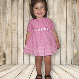 Pink and Gray Chevron Ruffled Dress and Bloomers