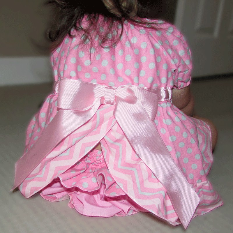 Pink And Gray Chevron Ruffled Dress And Bloomers Lucky