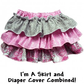 Pink and Gray Ruffle Baby Skirt Bloomers