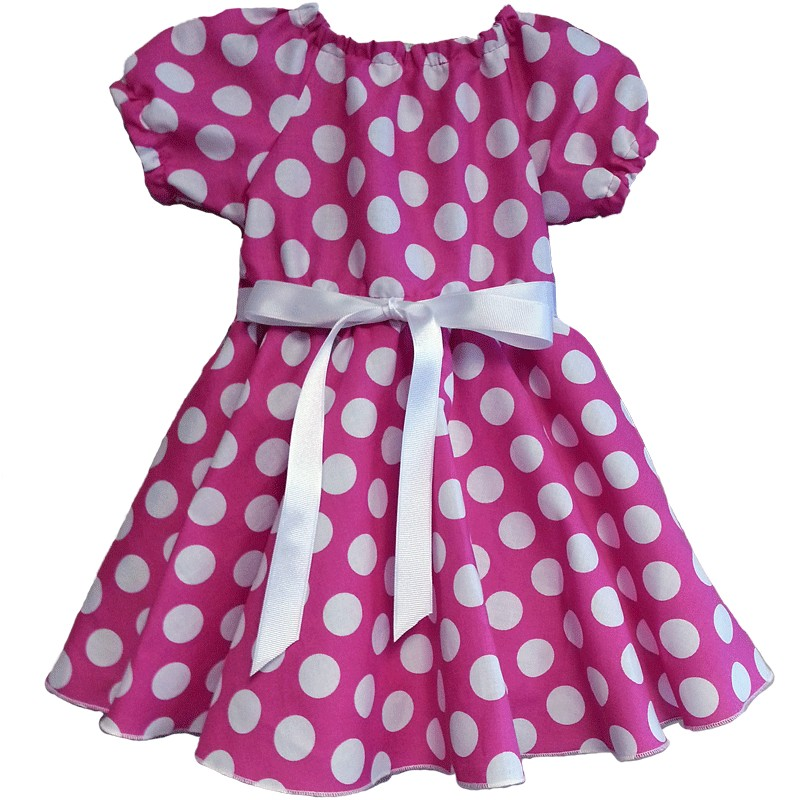 Pink and White Polka Dot Girls Dress - Lucky Skunks Baby-Toddler ...