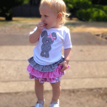 Pretty in Pink Cat or Butterfly Ruffle Baby Outfit