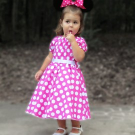 Pink and White Polka Dot Girls Dress
