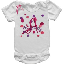 Pink and Purple Polka Dot Baby Shirt or Onesie