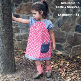 Coral Tunic Girls Dress with Kitty Pocket