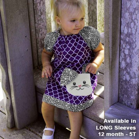 Purple Tunic Girls Dress with Bunny Pocket