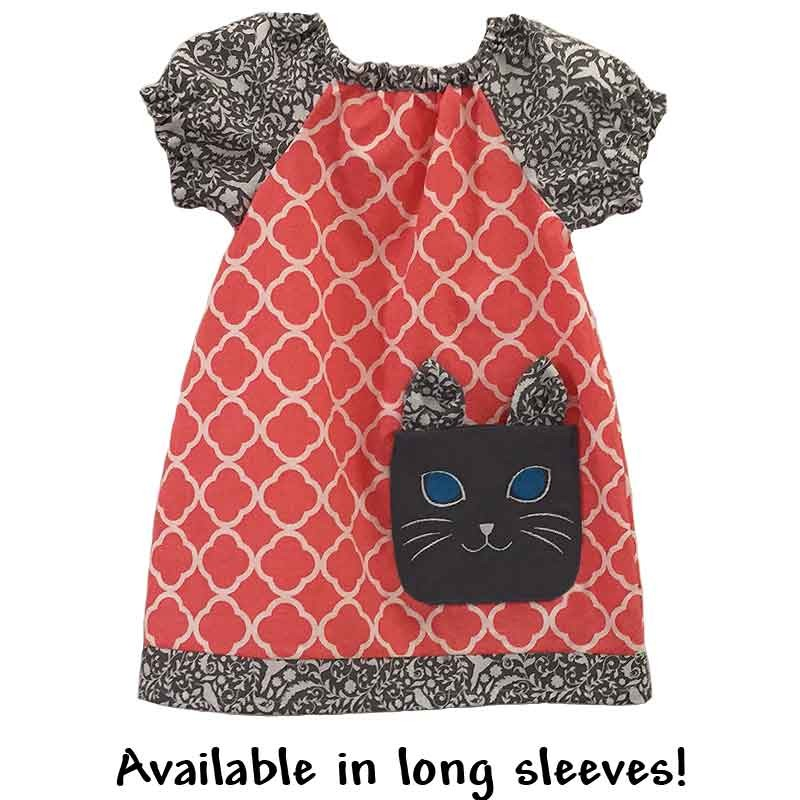 Coral Tunic Girls Dress With Kitty Pocket Lucky Skunks