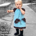 Teal Tunic Girls Dress with Puppy Pocket