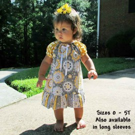 Delightful Yellow and Gray Ruffled Toddler Dress