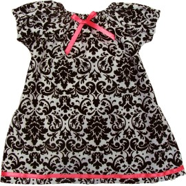 Black and White Damask Toddler Dress