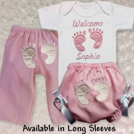 Personalized Pink Footprint Home From Hospital Baby Outfit