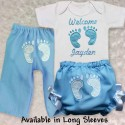 Personalized Blue Footprint Home From Hospital Baby Outfit