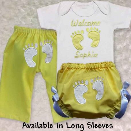 Personalized Yellow Footprint Home From Hospital Baby Outfit