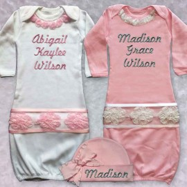 Beautiful Newborn Baby Girl Personalized Gown