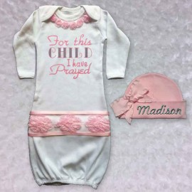 Beautiful This Child I Have Prayed Baby Girl Gown