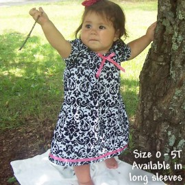 Black and White Damask Baby Dress