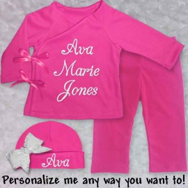 Personalized Bright Pink Infant Outfit