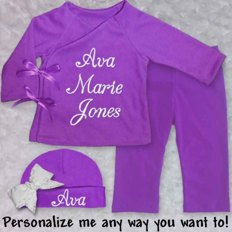 f99318b7d Personalized Purple Infant Outfit - Lucky Skunks Baby-Toddler Clothes