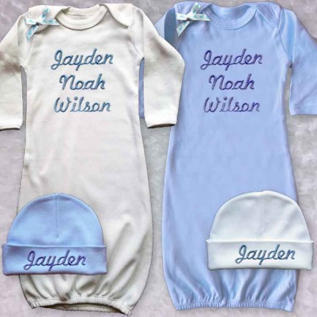 7e99ff0bc Personalized Baby Boy Gown - Lucky Skunks Baby-Toddler Clothes