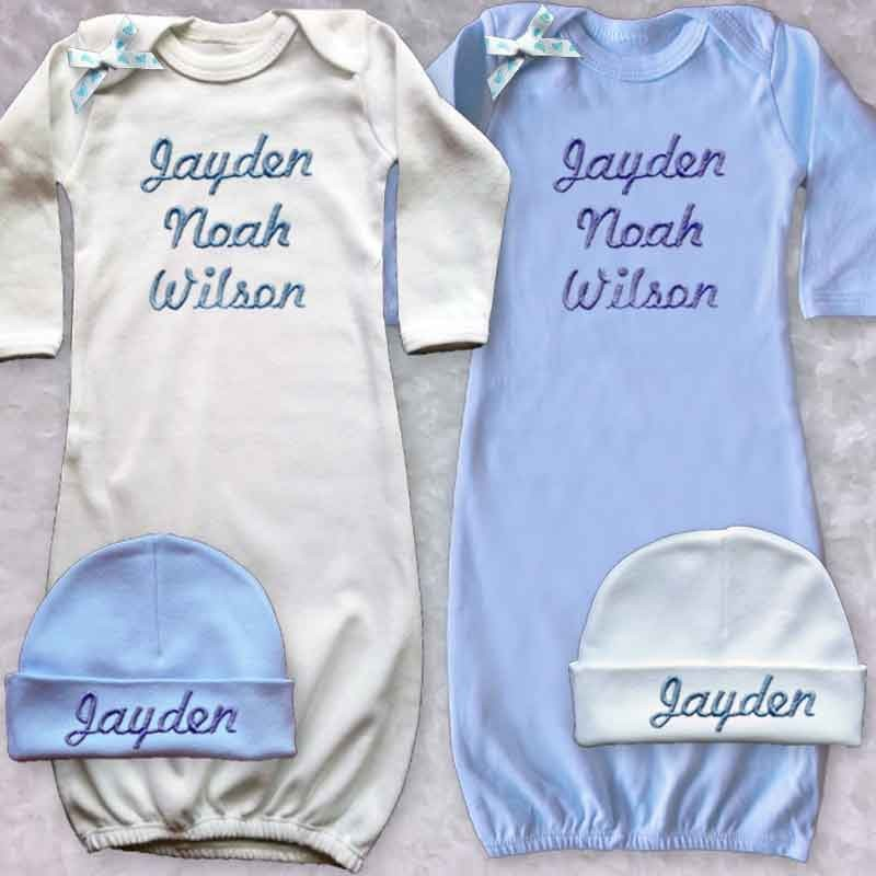 Personalized Baby Boy Gown - Lucky Skunks Baby-Toddler Clothes