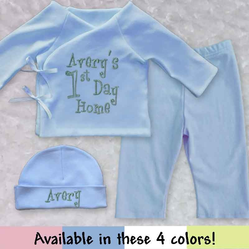 custom made home from hospital newborn baby outfit